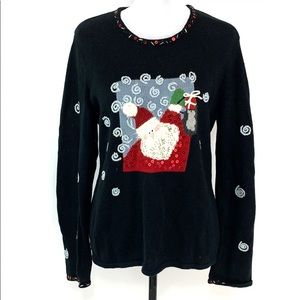 Susan Bristol Santa holiday black sweater EUC